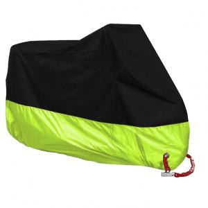 Motorhoes All Season Maat XL Zwart met Reflecterend Groen